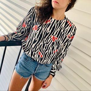 Vintage zebra animal print top blouse